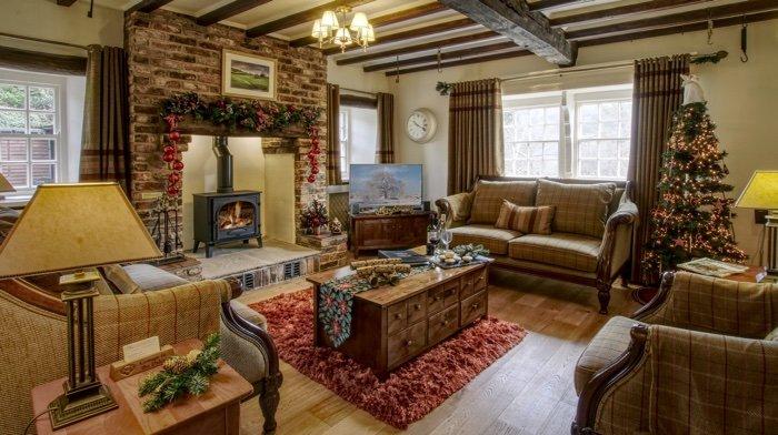 Inglenook Cottage lounge dressed for the festive season